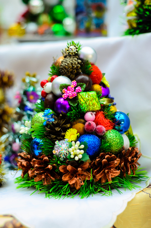 small artificial christmas tree with the decorations stock photo 88276789 - Small Artificial Christmas Tree