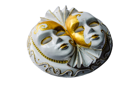 Gypsum sculpture of the two venecian masks isolated on white background