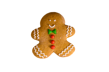 Christmas gingerbread man isolated on white background Stock Photo