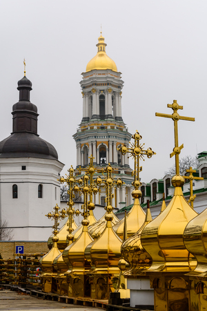 Different golden domes for sale in Kiev Pechersk Lavra