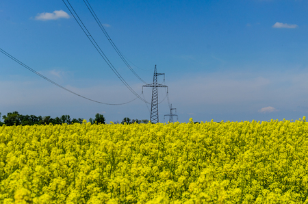 High voltage power line against blue sky
