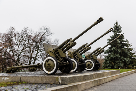 Soviet cannon in a  park of the Great Patriotic War in Kiev, Ukraine