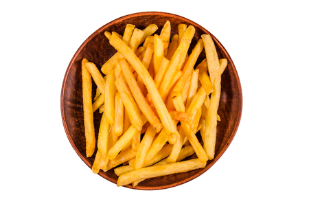Ceramic plate with french fries isolated on white background Foto de archivo