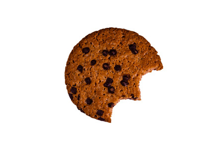 Bitten chocolate chip cookie isolated on white background