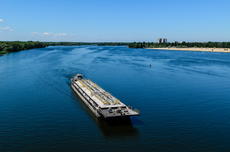 Oil product tanker barge on a river Dnieper