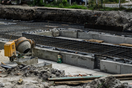 Framework for the concrete foundation of new building