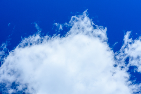 White fluffy clouds in deep blue sky