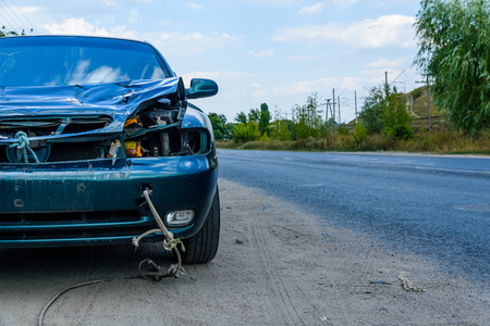 Closeup of the wrecked car after accident