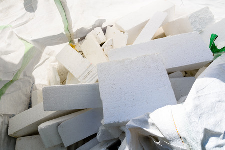 Heap of styrofoam pieces in polyethylene bag