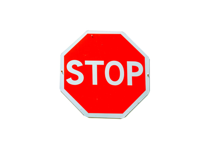 Stop sign isolated on a white background