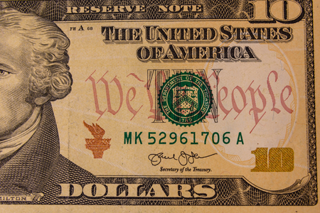 Closeup of the american ten dollars banknote Foto de archivo