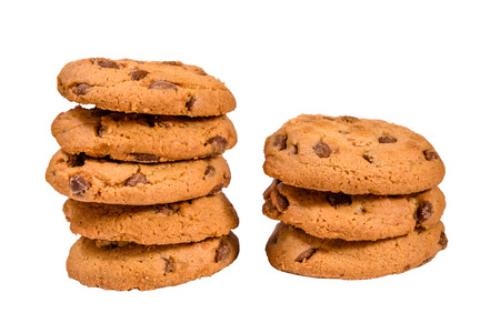 Fresh chocolate chip cookies isolated on a white background