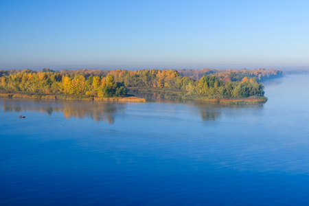 View on river Dnieper in Kremenchug on autumn