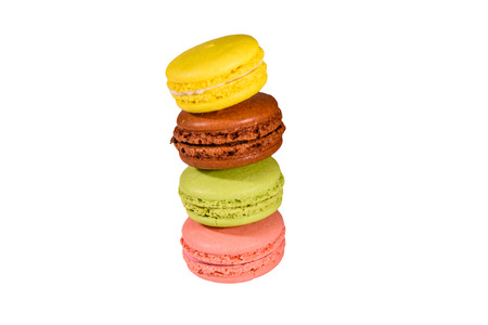 Stack of the french macaroons isolated on white background