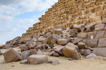 Closeup view on great pyramid of Cheops in Giza plateau. Cairo, Egypt Stock Photo