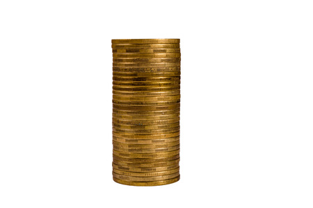 Stack of the coins isolated on white background Stok Fotoğraf