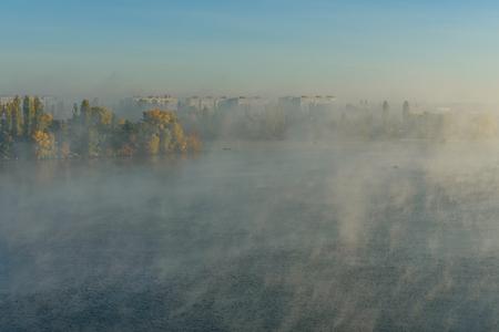 City Kremenchug in fog on autumn morning
