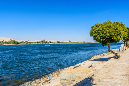 Bank of Nile river in Luxor, Egypt