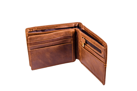 Opened brown leather wallet isolated on white background