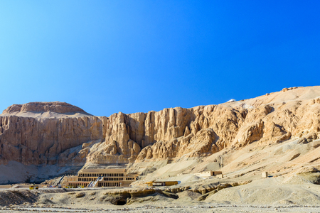 View on temple of Hatshepsut under the high cliffs in Luxor, Egypt