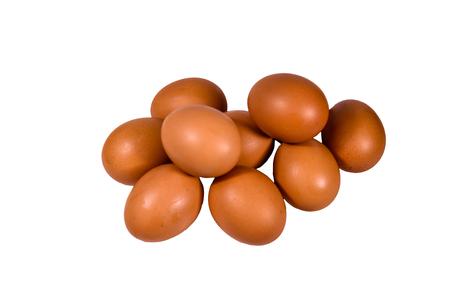 Pile of hen eggs isolated on white background 版權商用圖片