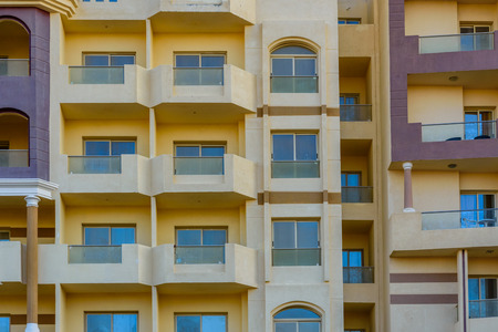Facade of modern residential building in Hurghada, Egypt