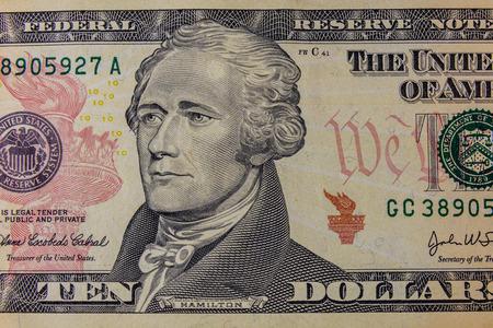 Closeup of the american ten dollars banknote