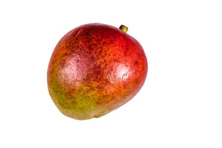Whole red mango fruit isolated on white background