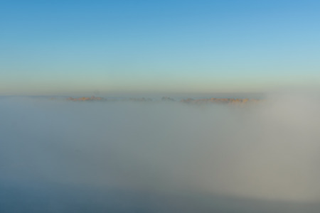 Fog over the water on river Dnieper on autumn 版權商用圖片