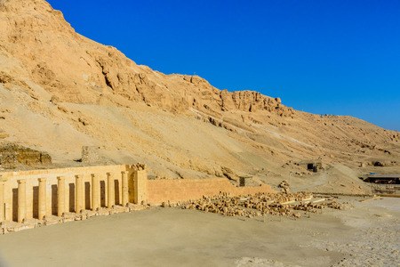 Archeological site near the temple of queen Hatshepsut in Luxor, Egypt