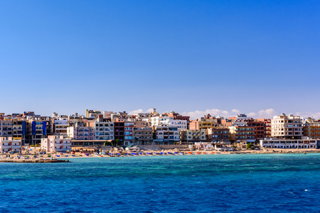 Panoramic view on Hurghada city from Red sea Stockfoto