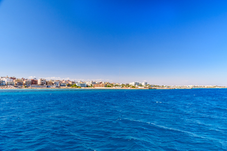 Panoramic view on Hurghada city from Red sea Imagens