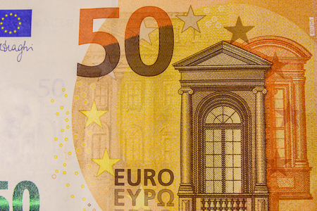 Closeup photo of the fifty euro banknote