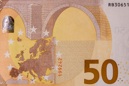 Nahaufnahmefoto der 50-Euro-Banknote