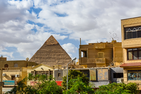 View on great pyramid of Khafre in Giza plateau from Cairo city Stock Photo