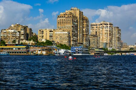 Kayaking on Nile river in Cairo city, Egypt. Summer vacations
