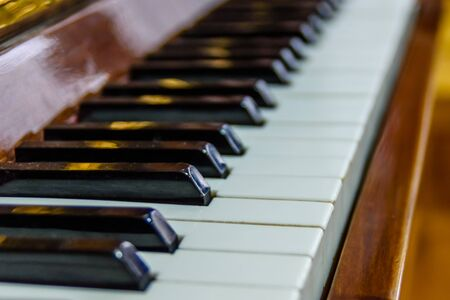 Closeup of black and white piano keys 写真素材