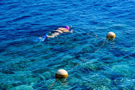 Young woman snorkeling in Red sea. Summer vacation concept Фото со стока