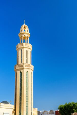Minaret of mosque in Hurghada city, Egypt 免版税图像