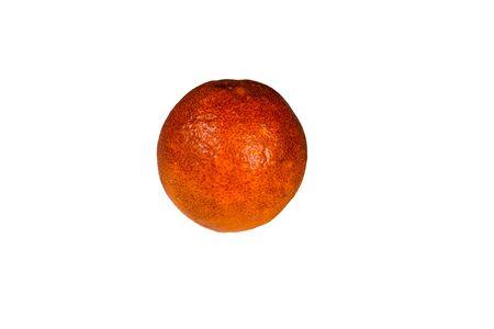 Ripe sicilian orange isolated on white background