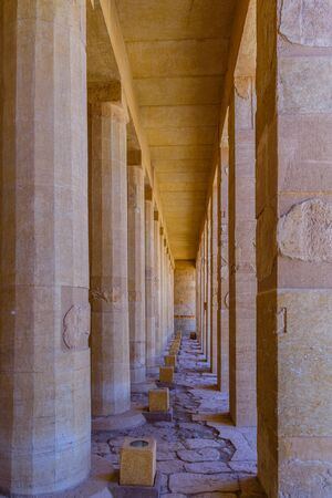 Rows of columns in temple of Hatshepsut in Luxor, Egypt