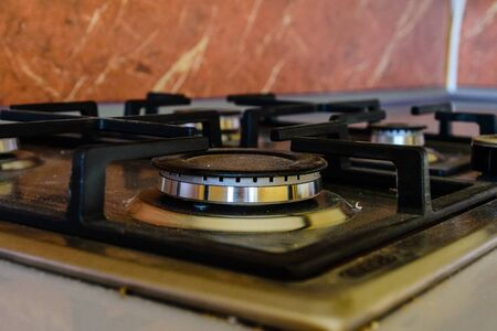 Closeup of the new modern gas stove Stock Photo