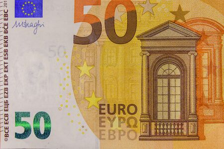 Closeup photo of the fifty euro banknote Stock Photo