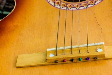 Six string acoustic guitar. Classical (spanish) guitar. Closeup Stock Photo