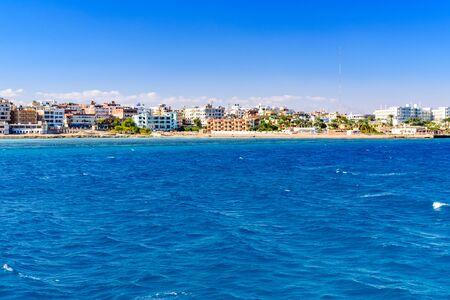Panoramic view on Hurghada city from Red sea Stock Photo