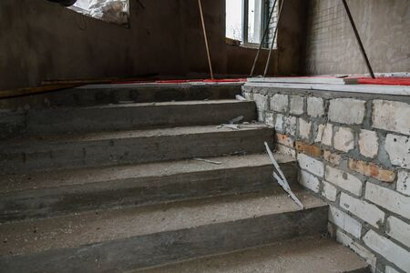 Construction of concrete stairs in new residential building