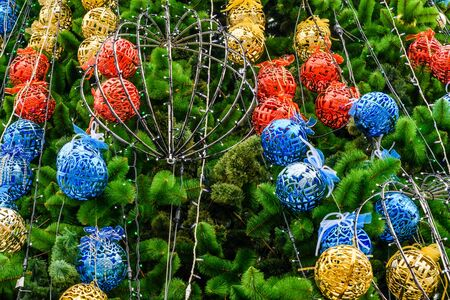 Background of the christmas tree and decorations