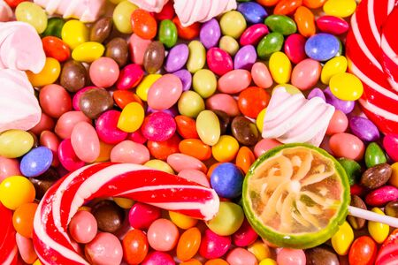 Texture of the many different candies for background