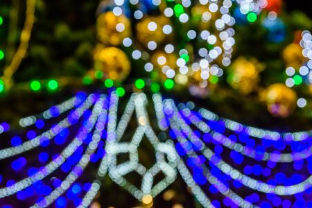 Defocused christmas lights and decorations for background