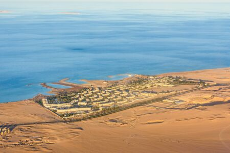 Aerial view on hotels near Hurghada city from airplane Reklamní fotografie
